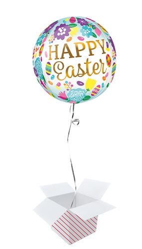 Happy Easter Eggs & Tulips Orbz Foil Helium Balloon - Inflated Balloon in a Box Product Gallery Image