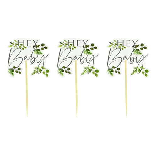 Botanical Hey Baby Cupcake Toppers Decorations - Pack of 12 Product Gallery Image