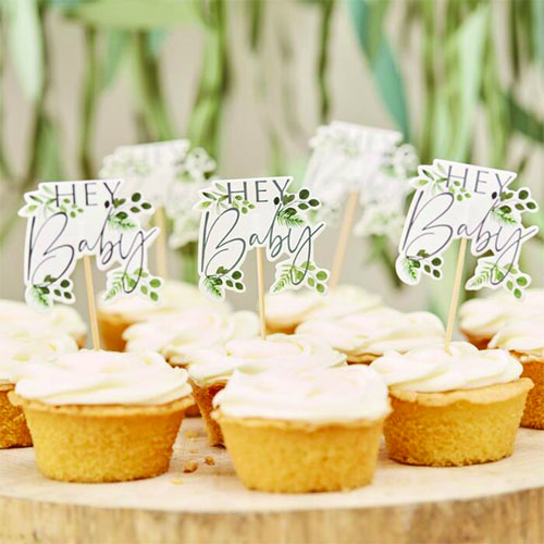 Botanical Hey Baby Cupcake Toppers Decorations - Pack of 12