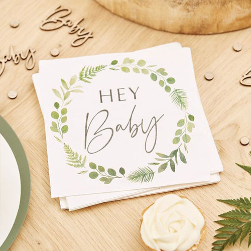 Botanical Hey Baby Luncheon Napkins 33cm - Pack of 16