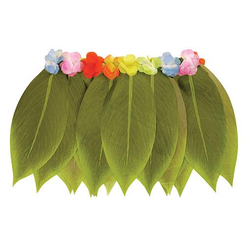 Hula Leaf Skirt With Flowers Hawaii Fancy Dress