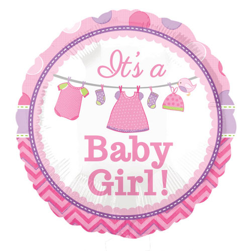 It's A Baby Girl Round Foil Helium Balloon 43cm / 17 in