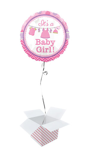 It's A Baby Girl Round Foil Helium Balloon - Inflated Balloon in a Box
