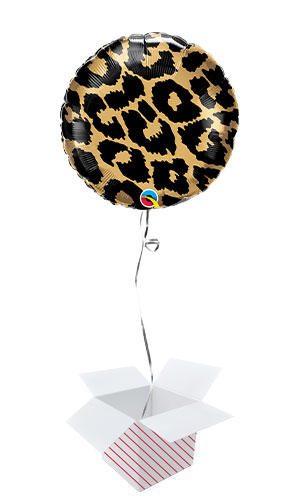 Leopard Spots Pattern Foil Helium Qualatex Balloon - Inflated Balloon in a Box