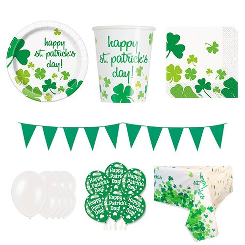 Lucky Shamrock St. Patrick's Day 16 Person Deluxe Party Pack