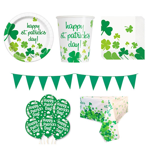 Lucky Shamrock St. Patrick's Day 8 Person Deluxe Party Pack