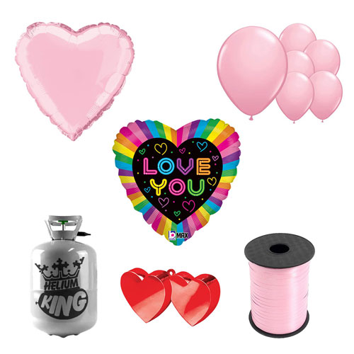 Neon Love You Valentine's Day Small Helium Gas Package With Balloons