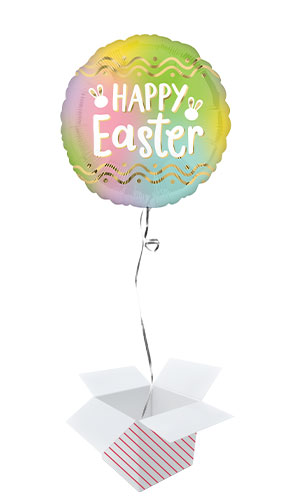 Ombre Happy Easter Round Foil Helium Balloon - Inflated Balloon in a Box