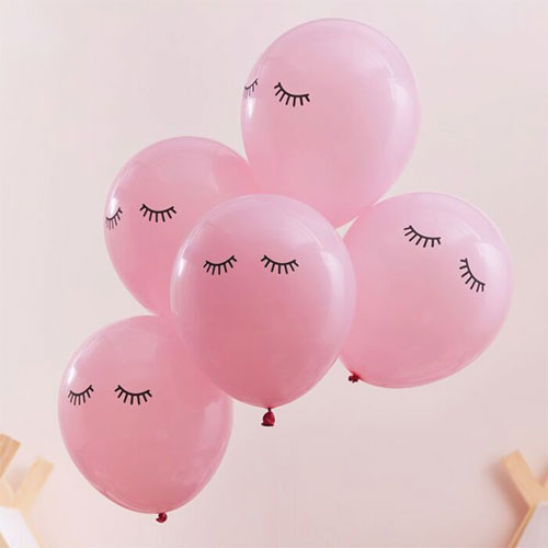 Pamper Party Sleepy Eyes Pink Biodegradable Latex Balloons 30cm / 12 in - Pack of 10 Gallery Image