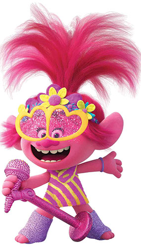 Poppy Microphone Heart Glasses Trolls World Tour Star Mini Cardboard Cutout 95cm Product Gallery Image