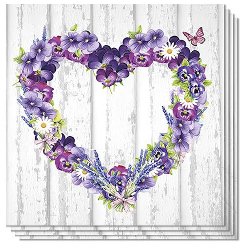 Purple Flower Heart Luncheon Napkins 3Ply 33cm - Pack of 20