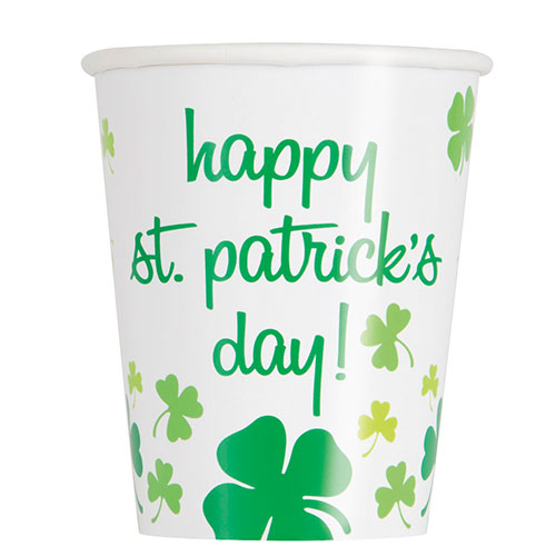 Happy St. Patrick's Day Shamrock Paper Cups 270ml - Pack of 8