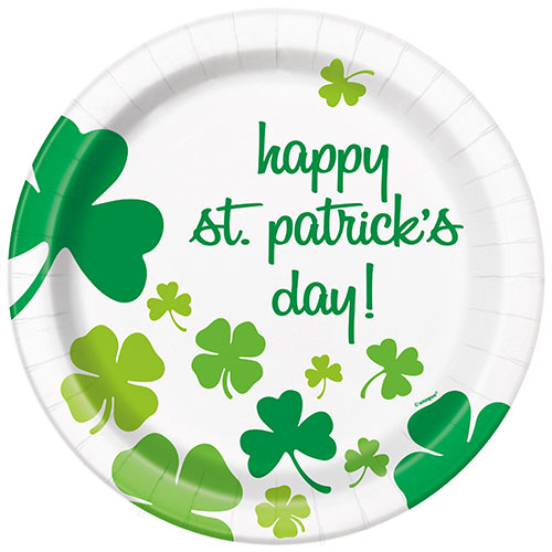 Happy St. Patrick's Day Shamrock Round Paper Plates 22cm - Pack of 8