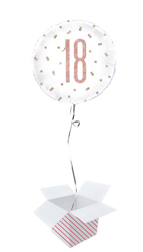 Rose Gold Glitz Age 18 Holographic Round Foil Helium Balloon - Inflated Balloon in a Box