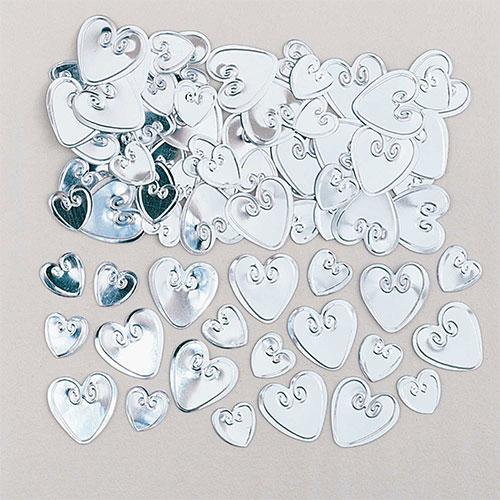 Silver Loving Hearts Table Confetti 14 Grams