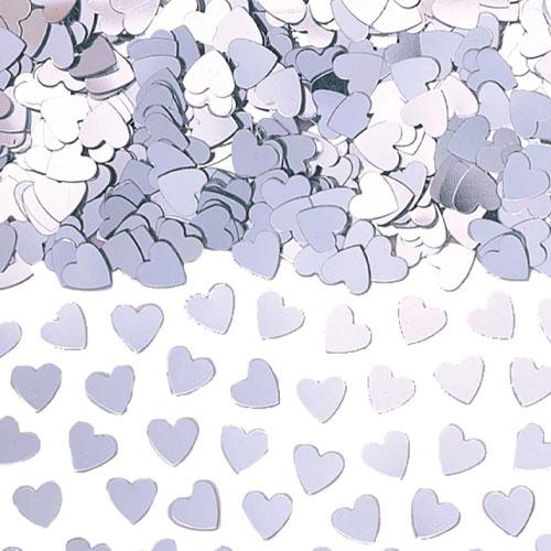 Silver Small Hearts Table Confetti 14 Grams