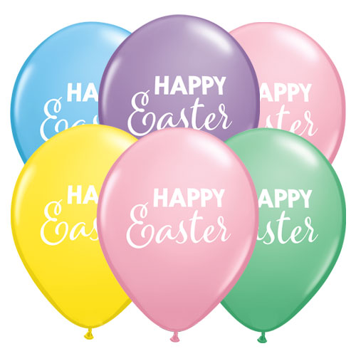 Simply Happy Easter Assorted Round Latex Helium Qualatex Balloons 28cm / 11 in - Pack of 10