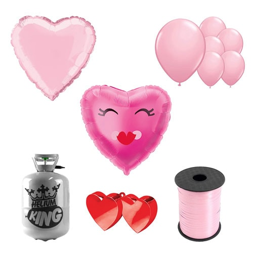 Smiling Pink Heart Valentine's Day Small Helium Gas Package With Balloons