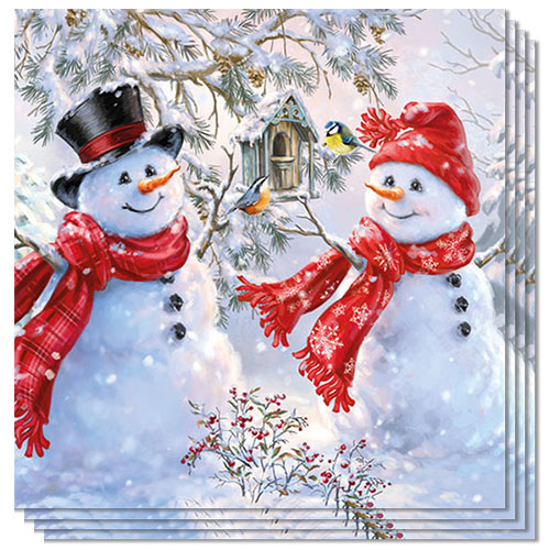 Snowmen & Birds Luncheon Napkins 3Ply 33cm - Pack of 20