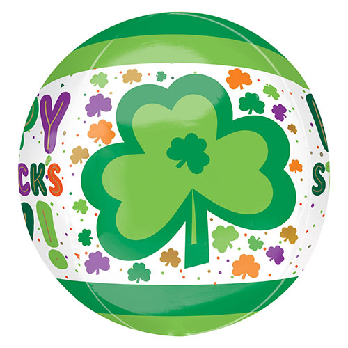 St. Patrick's Day Dots & Shamrocks Orbz Foil Helium Balloon 38cm / 15 in Product Gallery Image