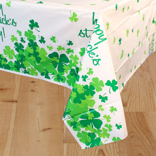 St. Patrick's Day Shamrock Plastic Tablecover 213cm x 137cm
