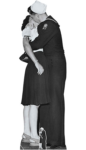 Victory Day Couple Black and White Lifesize Cardboard Cutout 184cm Product Gallery Image