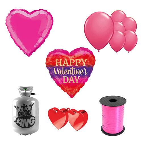 Watercolour Stripes Valentine's Day Small Helium Gas Package With Balloons