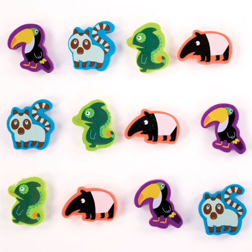 Wildlife Jungle Novelty Erasers - Pack of 12