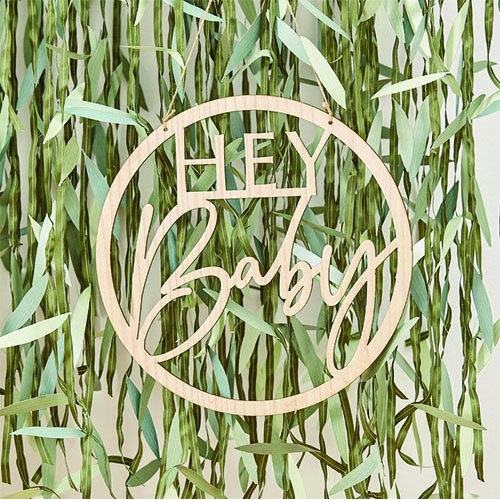 Botanical Hey Baby Wooden Sign Hanging Decoration 36cm Product Gallery Image