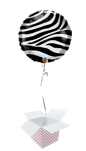 Zebra Stripes Pattern Foil Helium Qualatex Balloon - Inflated Balloon in a Box