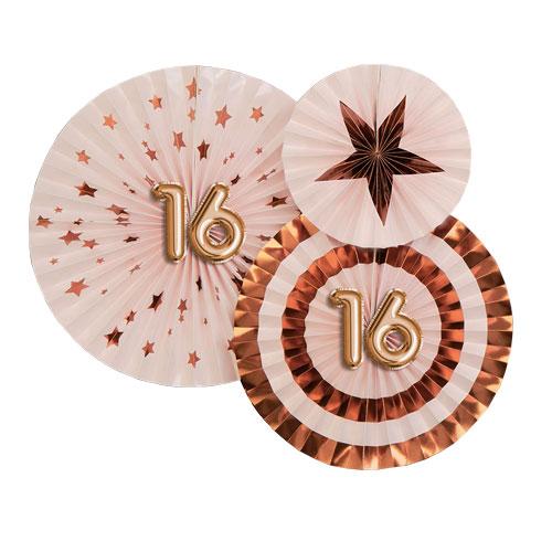 Age 16 Pink & Rose Gold Pinwheel Fan Hanging Decorations - Pack of 3