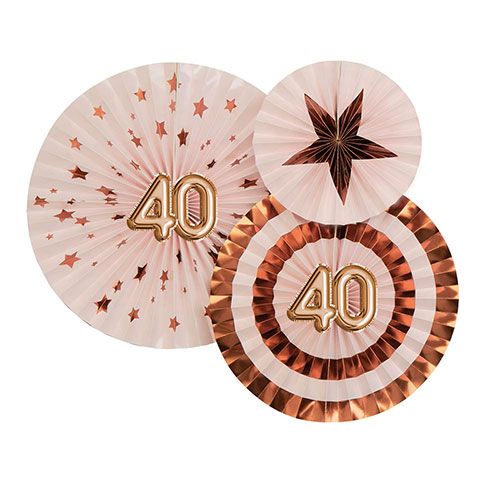 Age 40 Pink & Rose Gold Pinwheel Fan Hanging Decorations - Pack of 3