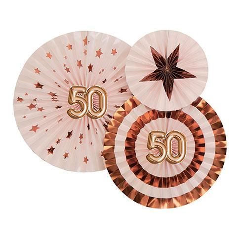 Age 50 Pink & Rose Gold Pinwheel Fan Hanging Decorations - Pack of 3