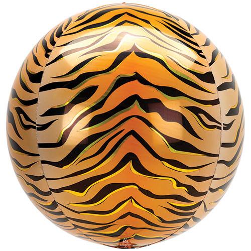Animalz Tiger Print Orbz Foil Helium Balloon 38cm / 15 in