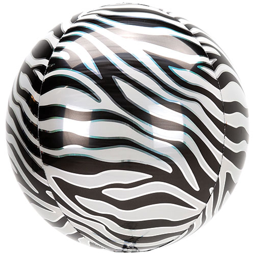 Animalz Zebra Print Orbz Foil Helium Balloon 38cm / 15 in