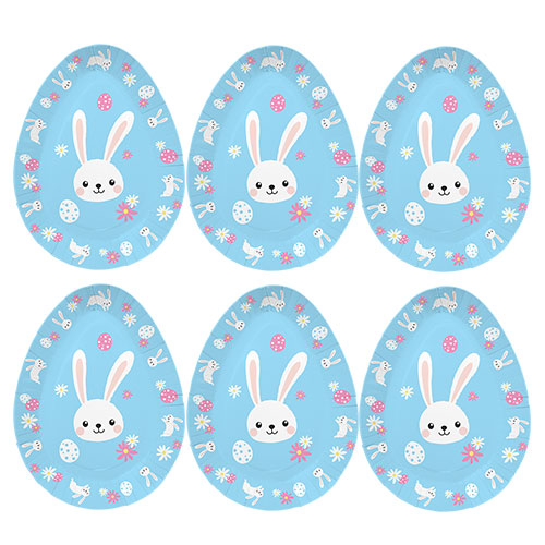 Assorted Easter Egg Shaped Disposable Paper Plates -  Pack of 6