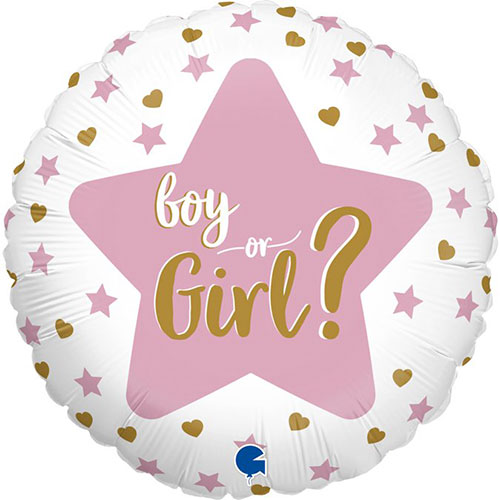 Baby Gender Reveal Two-Sided Round Foil Helium Balloon 46cm / 18 in Product Gallery Image