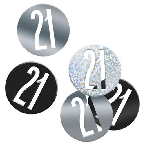 Black Glitz Age 21 Holographic Assorted Table Confetti 14 Grams