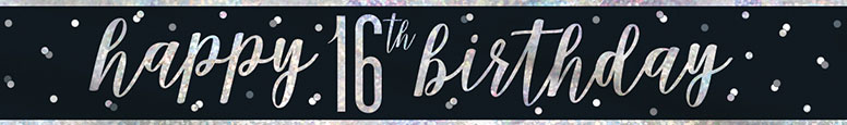 Black Glitz Happy 16th Birthday Holographic Foil Banner 274cm
