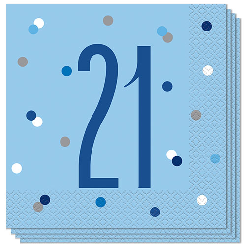 Blue Glitz Age 21 Luncheon Napkins 33cm 2Ply - Pack of 16