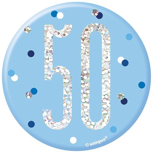 Blue Glitz Age 50 Holographic Birthday Badge 7cm