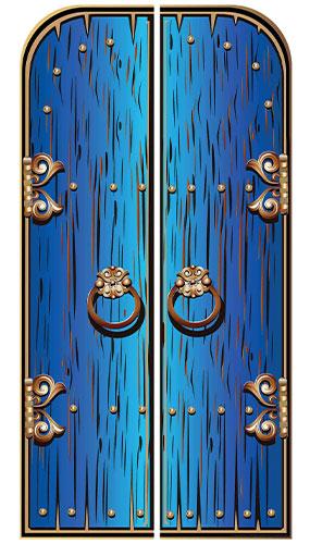 Blue Magical Double Doors Lifesize Cardboard Cutout 191cm