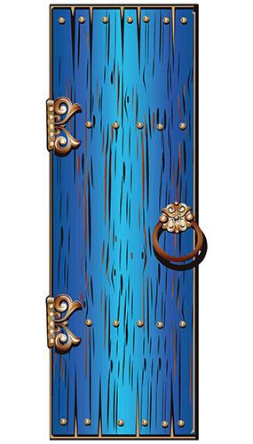 Blue Magical Single Door Lifesize Cardboard Cutout 195cm
