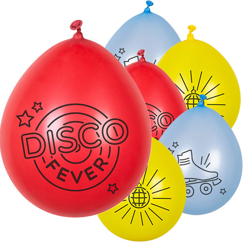 Disco Fever Assorted Biodegradable Latex Balloons 23cm / 9 in - Pack of 6