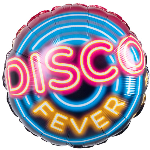 Disco Fever Two-Sided Round Foil Helium Balloon 45cm / 18 in
