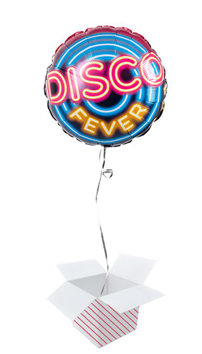 Disco Fever Two-Sided Round Foil Helium Balloon - Inflated Balloon in a Box