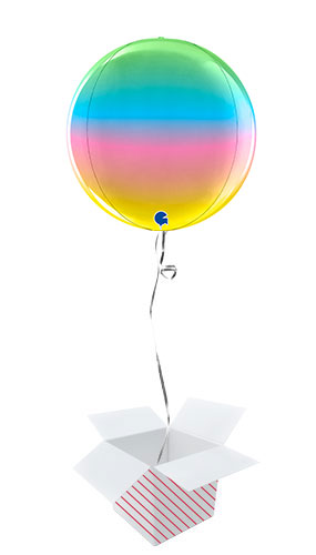 Rainbow Globe Foil Helium Balloon - Inflated Balloon in a Box