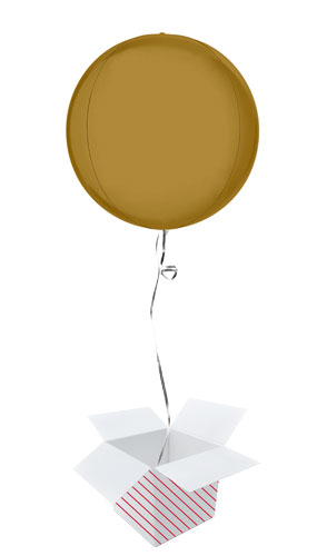 Satin Gold 4D Globe Foil Helium Balloon - Inflated Balloon in a Box