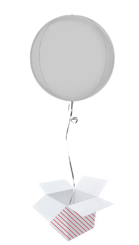 Satin White 4D Globe Foil Helium Balloon - Inflated Balloon in a Box
