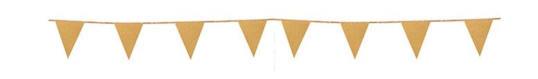 Gold Glitter Cardboard Pennant Bunting 6m